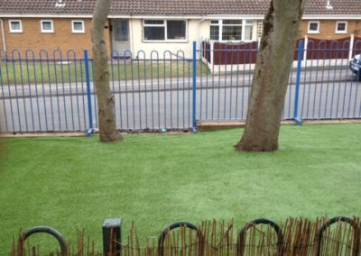 Artificial grass in playground