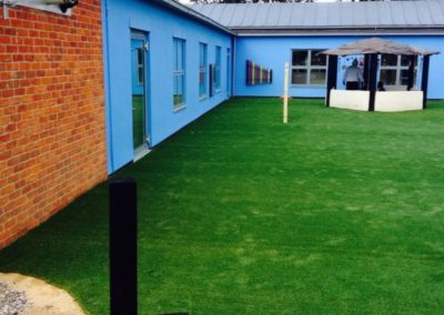 Artificial grass playground outside