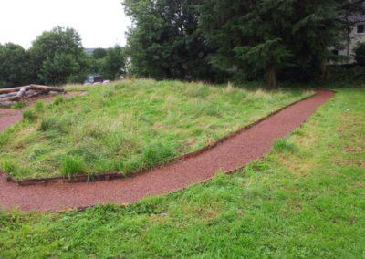 Red mulch walkway Kendal